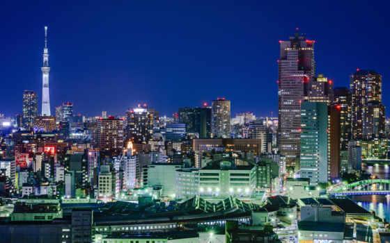 ночь, tokyo, япония