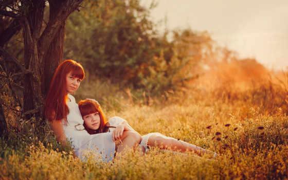 дочь, мама, семья, природа, summer,