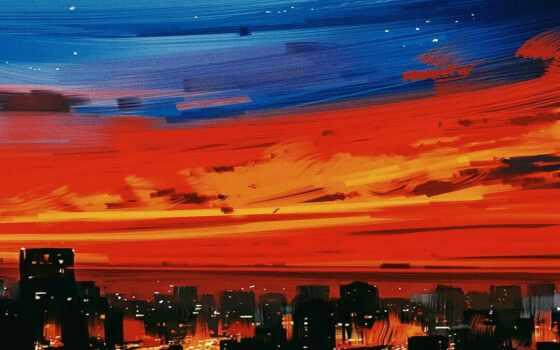 город, сумерки, оранжевый, вечер,