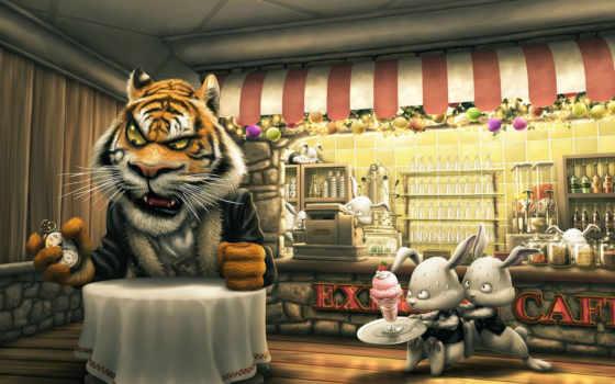 coffee, тигр, столик