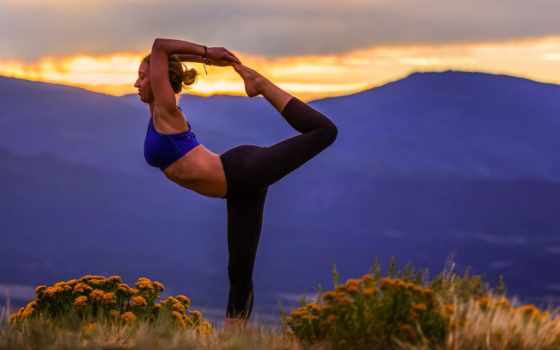 йога, девушка, поза, landscape, природа, картинка, гимнастика,