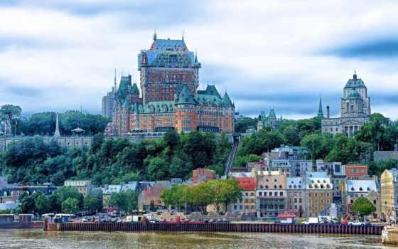 frontenac, chateau, quebec, канада, канадский, река, castle, landscape,