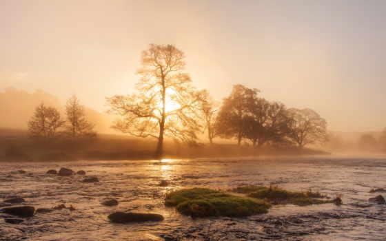 река, misty, закат, top, free, images,