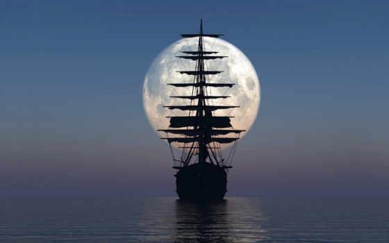 корабль, море, луна, небо, паруса, ночь,