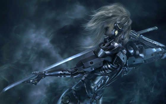 девушка, cyborg, меч, катана,