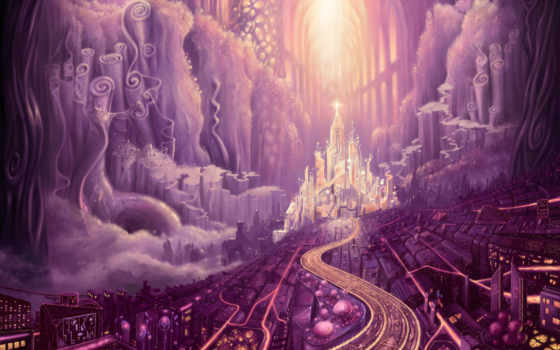 город, purple, fantasy,