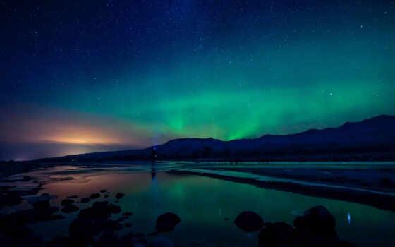 огни, northern, небо, ночь, aurora, borealis, starry, природа