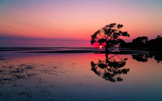 dark, background, sunset, lake,