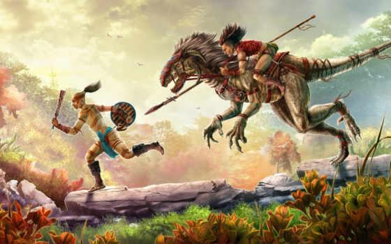 динозавр, всадник, raptor, pursuit,
