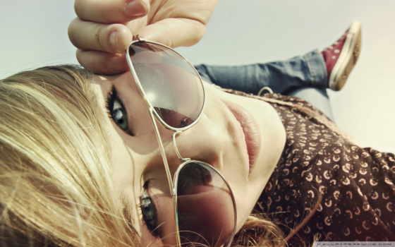 очках, солнечных, девушка, очки, девушки,
