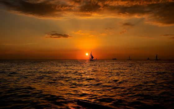 закат, лодки, море