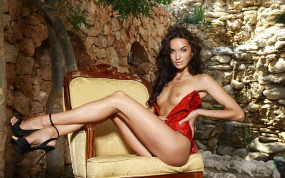 red, девушка, corset, water, кресло, вадопад, blonde, скалы, лежит, girls, women,