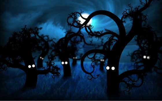 лесу, ночью, жутко