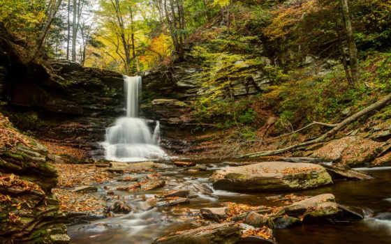 state, park, glen, ricketts, pennsylvania, falls, reynolds, водопад, sheldon, осень, водоспад,