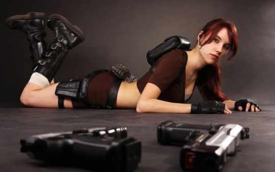 девушка, оружие, пистолеты, tomb, devushki, cosplay, картинка, croft, лара, raider,