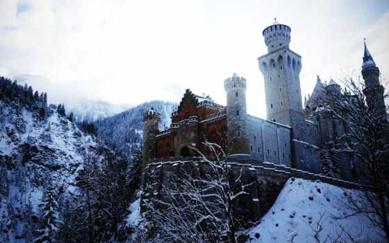 castle, нойшванштайн, нойшванштайн, бавария, германия, german, winter, замки,