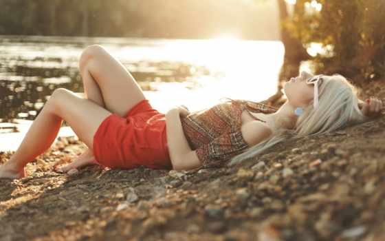 blonde, девушка, берегу