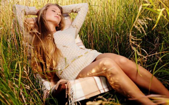 девушка, траве, взгляд, devushki, женщина, трава,