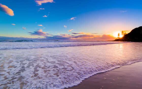 ocean, австралии, закат, берег, волны, нояб,