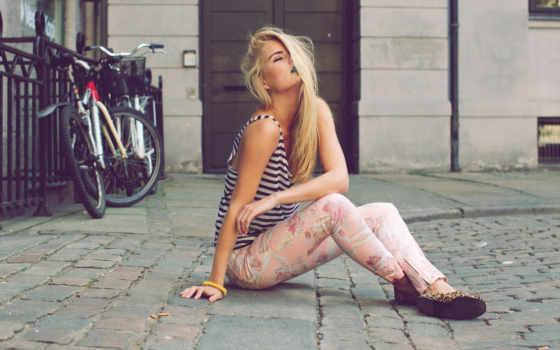 девушка, blonde, дороге, рейтинг, каменной, сидит,