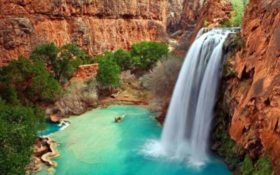 природа, водопады, that, world, gandex, стоит, скамейка, место, еще,