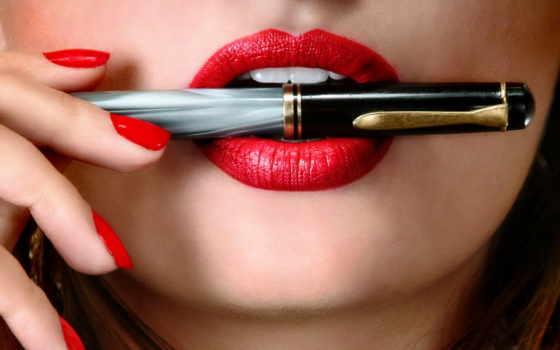 перо, desktop, lips, рука, планшетный, ballpoint, изображение,