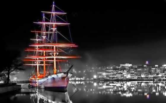 корабли, sailboat, корабль, парусники, ночь, взгляд, julia, город,