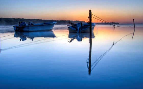 туман, blue, лодка