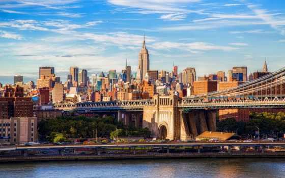 мост, manhattan, new, york, бруклин, город, нью,