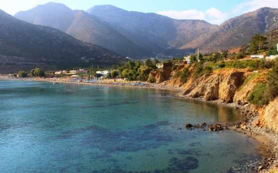 море, горы, природа, greek, дома, небо, greece, пляж,