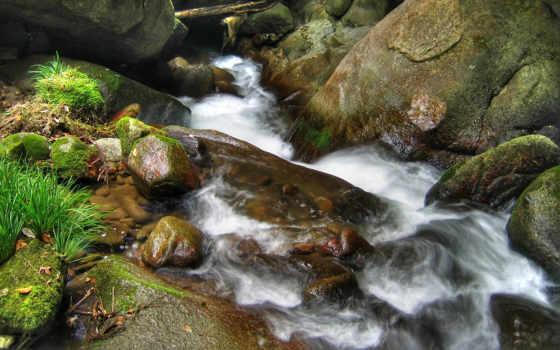 ручей, гора, камни, мох, зелёный,
