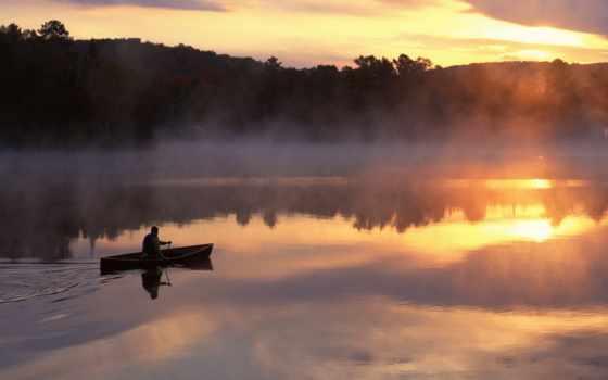 озеро, мужчина, лодка, горы, туман, утро,
