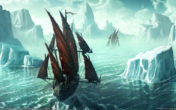 льды, iceberg, рисунок, корабль, beyit, kerem, water,