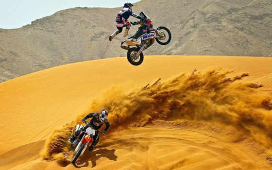 мотокросс, мотоциклы, пустыня