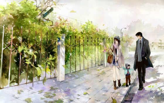 семья, рисунок, прогулка, листва, wu, ребенок, картинка,