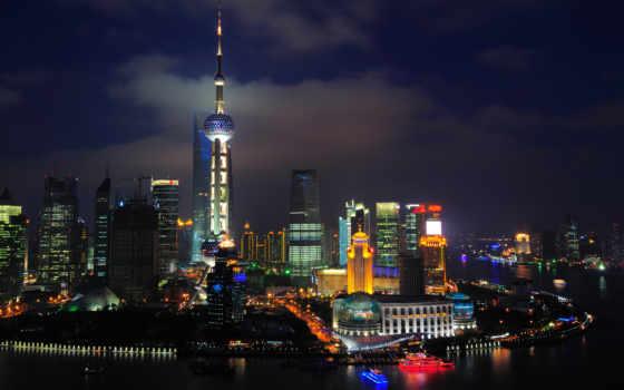 china, которых, тег, всех, есть, bund, китая, дома, огни, ночь,