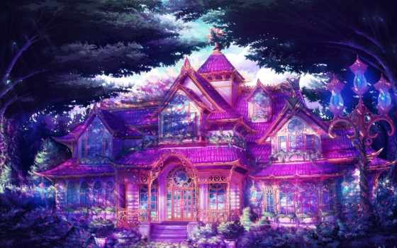art, особняк, house, trees, фонари, фантастика, современный, дома,
