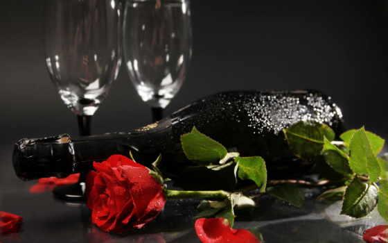 цветы, вино, розы, бокалы, шампанское, роза, лепестки, бутылка,