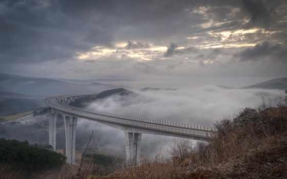 мост, туман, clouds, scenic, high, ущелье, неба, fone,