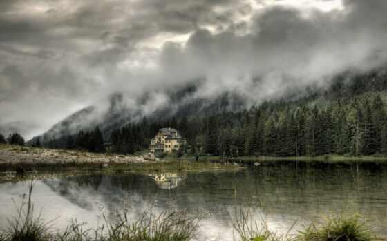 dom, туман, одинокий, holm, одинокая, reka, oblako, дым, дерево, priroda, les
