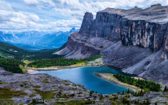 national, park, banff, озеро, smartphone, гора, планшетный, компьютер, склон, talus