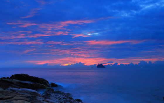 ночь, небо, landscape, пасмурный, blue, desktop, free,