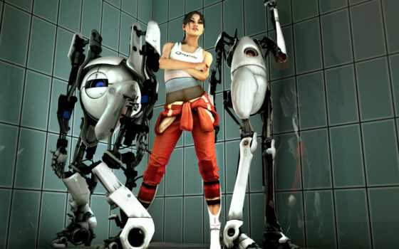 портал, атлас, плакат, роботы, chell, desktop, тело, free,