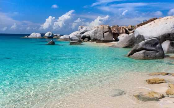 море, камни, песок, пляж, bay, water, голубая, прозрачная, берег,