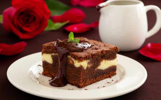 брауни, десерт, торт, chocolate, пирог, еда,