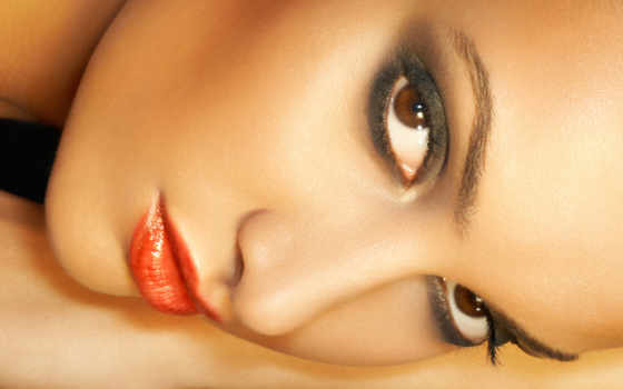 взгляд, макияж, свет, лицо, сделать, девушка,