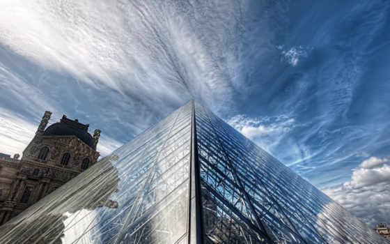louvre, париж, небо