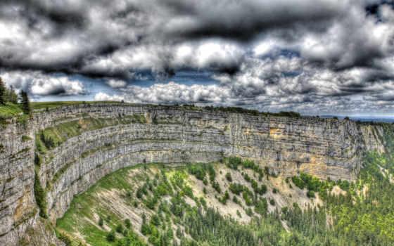 скалы, лес, oblaka