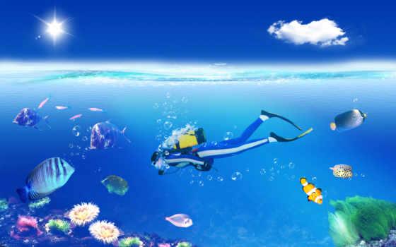 diving, широкоформатные, графика