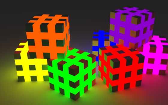 кубики, том, грани, color, графикой, свет, радуга, streaks, мб,